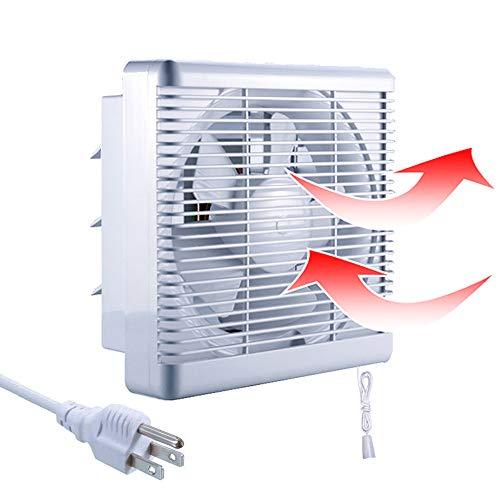 "Exhaust Fan SAILFLO 6 Inch Window Exhaust Fan Bathroom Wall-Mounted 176 CFM Reversible Airflow Blades, 6"" Diameter Propeller - 10""×10"" Panel"