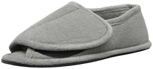 Image of MUK LUKS Men's Terry Adjustable Open Toe Full Foot Slipper, Pearl Grey, Large