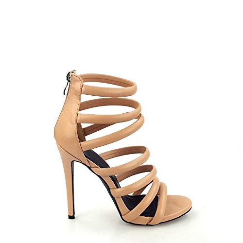 High Tasmine Correa con tiras Miss Open Stiletto Sandal Diva Women del Heel tobillo Nude Toe Ladies I01Hx1