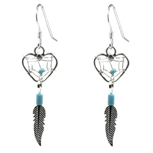 Dream Catcher Sterling Silver Turquoise Imitation Heart Earrings ()