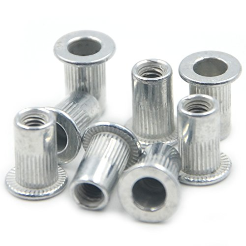 Angelakerry 50pcs M3 Blue White Zinc Flat Head Rivet Nut Steel Nutserts Blind Insert Rivnut Threaded Multi