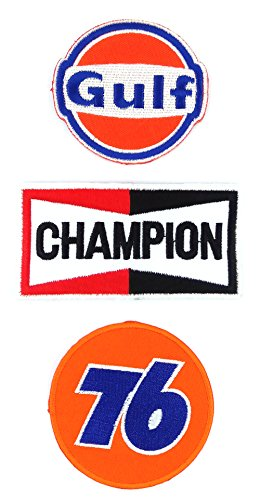 Set_MOTOR009 - Union 76 Patch, Auto Racing Patches Set - Motor Patches - Applique Embroidered patches - Iron on Patches - Backpack Patches - Champion Patch, Gulf Patch, Union 76 (Kids Union Officer Hat)