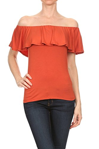 ReneeC. Women's Natural Bamboo Off Shoulder Ruffle Overlay Top Made in USA (X-Large, Orange ()
