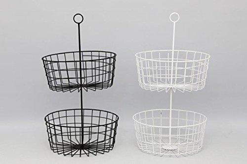 Annibells 2 Tier Metal Black or White Fruit Storage Baskets (black) SIL