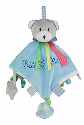 Belle Éléphant Baby Pink Plush Bear Doudou With Attached Pacifier. Crinkle Tags And Ears, Peep In Star Rattle,Jingle Bell In Teddy Bear's Head.(Great For Baby Shower Gift) ()