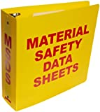 "Brady 2025 3"" Diameter Rings, Polyethylene, Red On Yellow Color Standard MSDS Binder, Legend ""Material Safety Data Sheets"""