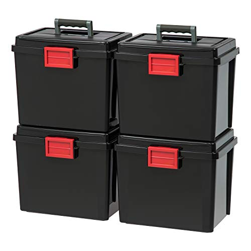 IRIS USA UCB-HFB Letter Size Portable Weathertight File Box, 4 Pack, BLK/RED (File Letter Portable Box Size)