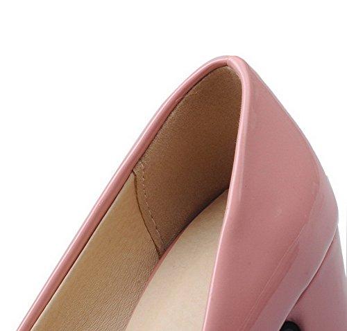 Liso Aalardom Mujeres Tacón Rosa Tacón Puntera Tsmdh004173 Charol Zapatos De Medio Cuadrada YHnxYW