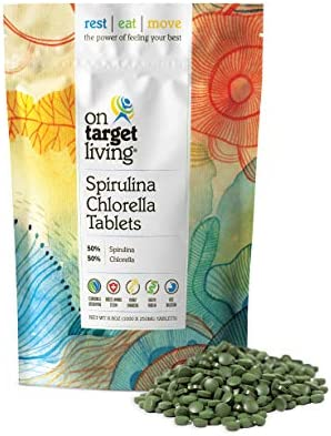 On Target Living Spirulina Chlorella 1000 Tablets- 250 G 8.8 oz Vegan Immune System Boosting Alkalyzing Nutrient Dense Detoxifying Protein Dense Energy Recovery