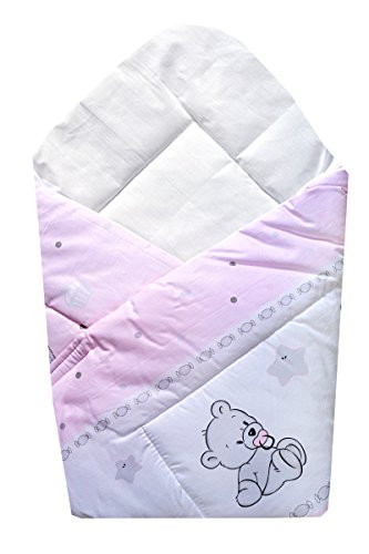 TupTam Baby Unisex Einschlagdecke Wattiert Gemustert ANK003 Eulen Rosa