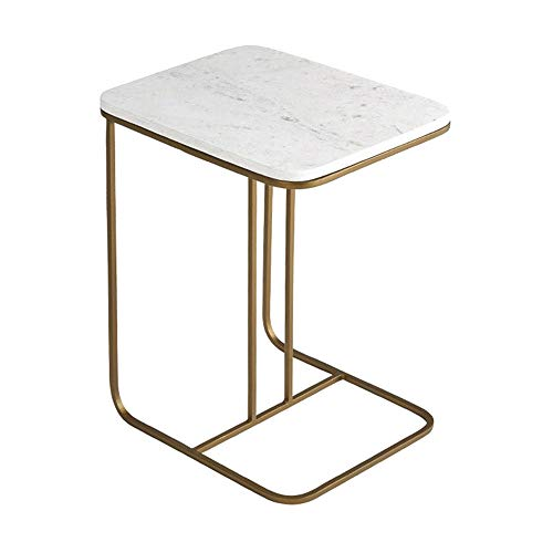 XBBZ Nordic Marble Side Coffee Table, Simple Living Room Small Square Table Wrought Iron Sofa Side Table Simple Creative Bedside Table (Nesting Iron Square Tables)