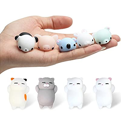 Kyson 12 PCS Kawaii Slow Soft Rising Squishy Squeezen Mini Cute Seal Cat Bear Rabbit Pig Panda Sheep Fidget Toy Stress Reliever Kids Toy Gift: Toys & Games