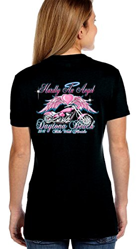 Leather Supreme Women's Daytona Beach Bike Week 2017 Design on Hanes V Neck Tee Shirt-Black-Large