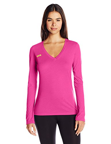 Soffe Women's Long Sleeve V Neck Tissue Tee, Pink Glow, (Ladies Tissue)