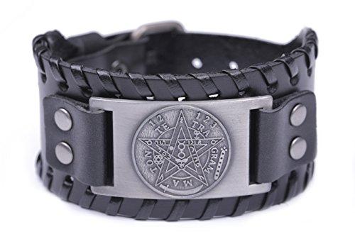Pagan Viking Tetragrammaton Pentacle Symbol Talisman for Love Braided Wide Leather Wristband Bracelet (Antique Silver,Black) by Skyrim (Image #7)
