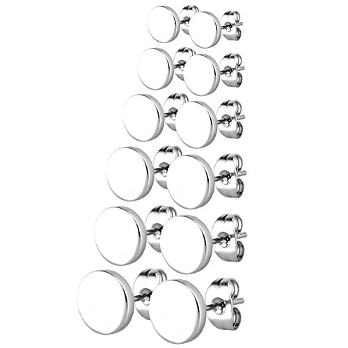 (JewelrieShop Silver Dot Earrings Men Studs Stainless Steel Disc Circle Round Flat Earrings Set for Women (3mm-10mm,6 Pairs,Silver) )