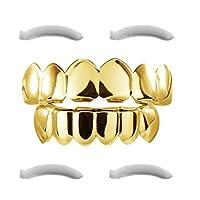 Grillz dorado chapado en 24K para boca Parrillas de dientes de hip hop inferior inferior para boca de dientes + 2 barras de moldeo adicionales, estuche de almacenamiento + paño de microfibra