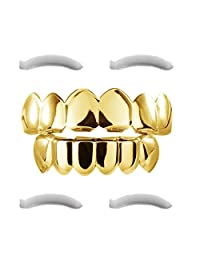 24K Gold Plated Grillz for Mouth Top Bottom Hip Hop Teeth Grills For Teeth Mouth + 2 Extra Molding Bars, Storage Case + Microfiber Cloth