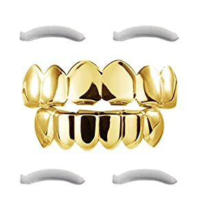 24K Plated Gold Grillz for Men and Women | Mouth Top Bottom Hip Hop Teeth Grills | + 2 Extra Molding Bars + 1 Storage…