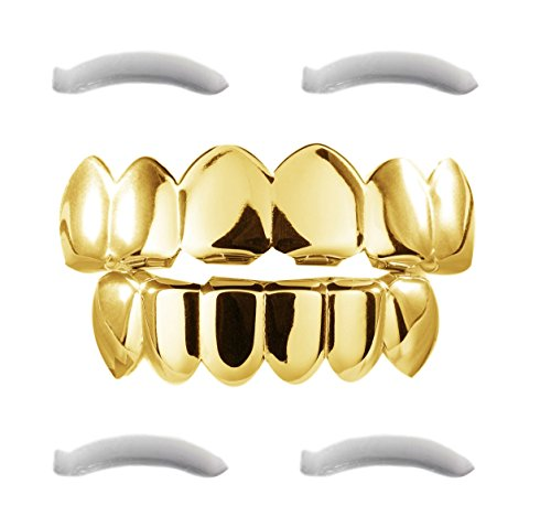 - 41 dqHZk10L - 24K Plated Gold Grillz for Mouth Top Bottom Hip Hop Teeth Grills For Teeth Mouth + 2 Extra Molding Bars, Storage Case + Microfiber Cloth