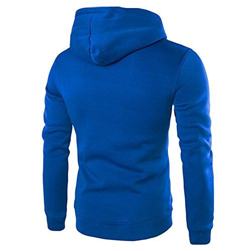 Con A E Cappuccio Magliette Felpa Beikoard Lunga Da Uomo Blue Bianche Manica Twt0nS