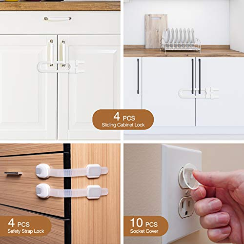41 dqkTNXXL Mum & Cub 4 Pack Sliding Cabinet Locks and 4 Pack Child Safety Strap Locks Combo Set, Baby Proof Locks for Doors, Drawer, Cupboard, Refrigerator, with 10 Outlet Plug Covers    【Well Made & Adjustable】The baby-proof sliding cabinet locks are made from durable ABS material to prevent a break. And with up to 5 inches of cover spaces, these U-shaped locks wrap around handles or knobs to hold doors shut【Sturdy & Durable Adjustable Strap】These baby strap locks can fit on any surface and adjust to any shape to match a variety of configurations. Installation is tool-free as they include built-in high durable and long-lasting 3M adhesive【High-quality Plug Covers】The childproof outlet plug covers crafted with high-quality materials with electrical insulation properties. Prevent your kids from inserting their fingers into the slots and keeps kids away from the electric hazards【Widely Application Baby proof Kits】This complete baby proofing kit works with closets, cabinets, doors, toilet seats, etc. Tool-free installation, you can easily remove it with a hairdryer without any damage to your furniture at all, leaving no stains or marks