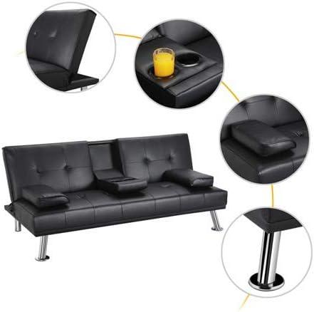 Black GJR LuxuryGoods Modern PU Leather Futon w//Cupholders /& Pillows