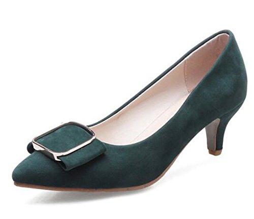 Easemax Womens Elegant Faux Suede Buckle Pointed Toe Low Top Mid Kitten Heel Pumps Shoes Green J3i0Ap