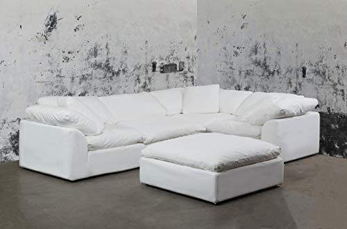Sunset Trading SU-1458-81-3C-1A-1O Cloud Puff 5 Piece Modular Performance White Sectional Slipcovered Sofa