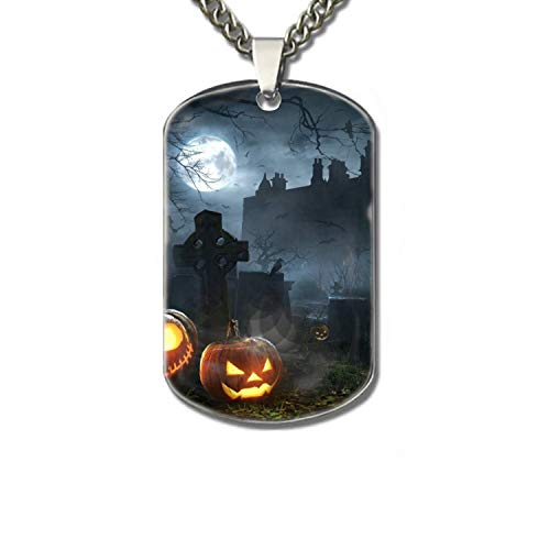 PANQJN Holiday Halloween Graveyard Cemetery Jack-o-Lantern Night Pet Necklace ID Tag Dog and Cat Personalized |Many Pattern to Choose from! for $<!--$7.62-->