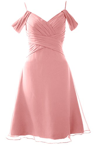 MACloth Elegant Off the Shoulder Short Bridesmaid Dress Wedding Party Formal Gown Blush Pink