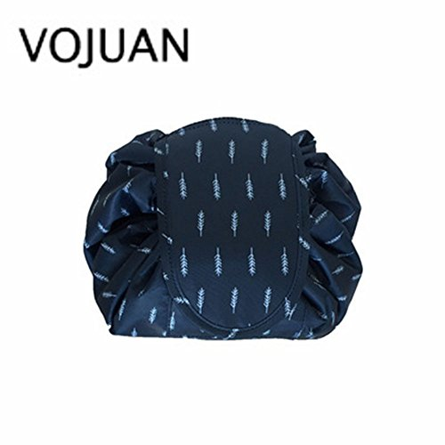 VOJUAN Fashion Cosmetic Bag Large Capacity Lazy Makeup Toiletry Bag Multifunction Storage Portable Quick Pack Waterproof Travel Bag(Blue Feather)