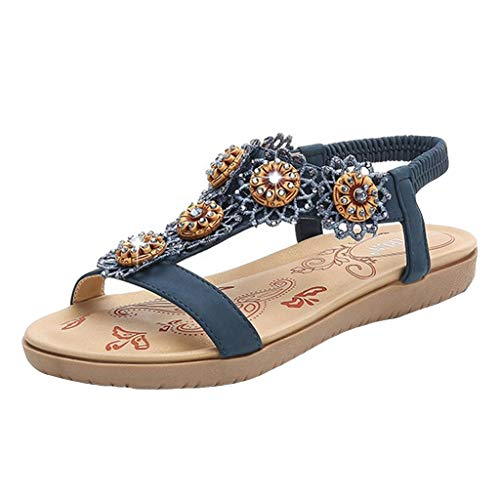 Sameno Plus Size Bohe Sandals for Women Flat Womens Sandles Flip Flops Clip Toe Summer Platform Slippers Wide Width Blue
