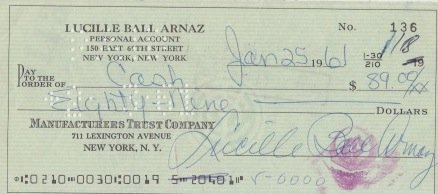 LUCILLE BALL signed bank check