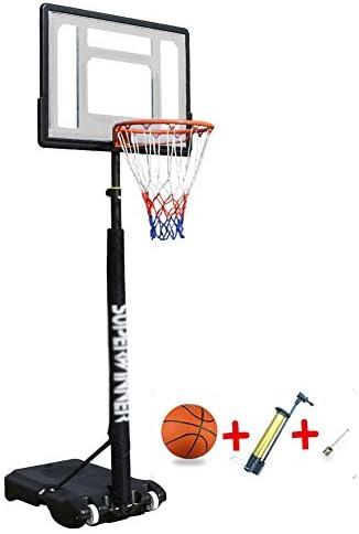 バスケットゴール 子供/ 10代向けのポータブルフープ&ゴールバスケットボールシステム- 高さ調整可能3.9〜6.9フィート バスケットボール&ボールポンプ付きバスケットボールフープ、 82cm透明バックボード (Color : White)