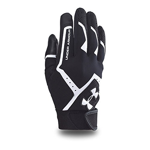 Under Armour Boys' Clean-Up VI Baseball Batting Gloves,Black (001)/White,Youth Small
