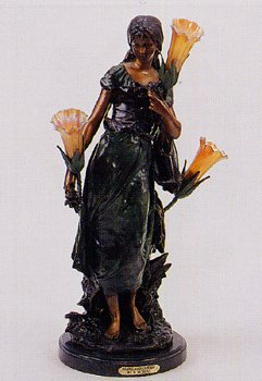 ''Standing Mandolin Woman'' 29.5''H Distinctive Solid Bronze Sculptural Lamp by A. Moreau by Artistic Solutions