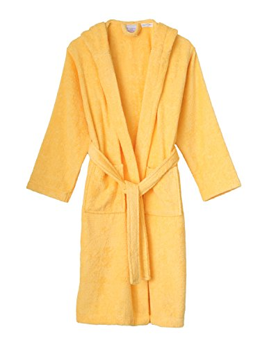 TowelSelections Big Girls' Robe, Kids Hooded Cotton Terry Bathrobe Cover-up Size 12 Banana Cream