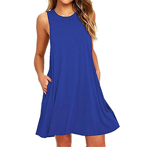 KESEE Clearance Women's Lace Sleeveless Pockets Casual Swing T-Shirt Dresses O Neck Loose Above Knee Dress (XL, Blue 1) ()
