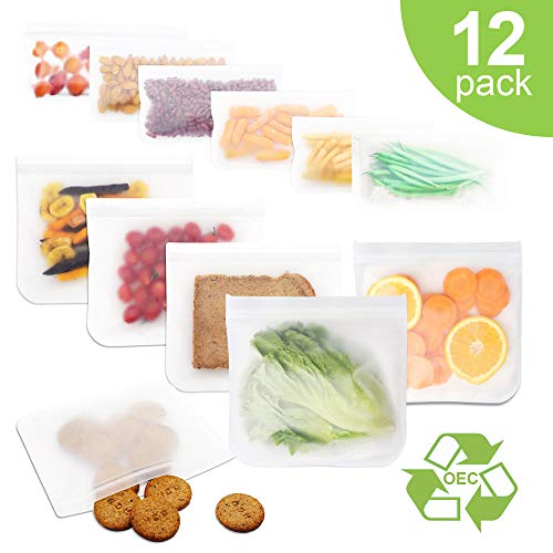 Reusable Storage Bags, 12 Pack FDA Grade Freezer Ziplock Bags (6 Reusable Sandwich Bags, 6 Reusable Snack Bags) Extra Thick BPA Leakproof Easy Seal Lunch Bags for Home Food Storage Organization Sets