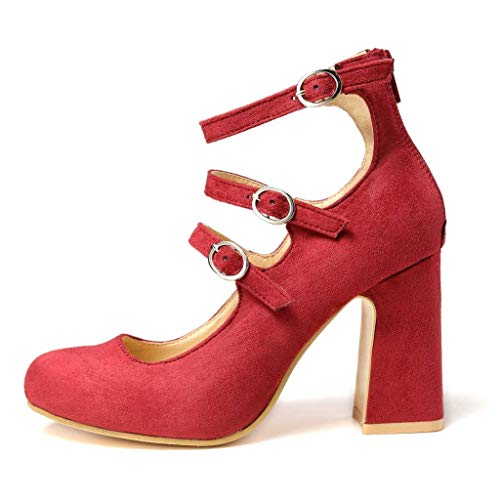 Sandali Scarpe Eleganti Rojo Comodi Rosso Partito Solido Tacco Moda Rosse Shopping Donna estate Colore Banchetto Spesso Regolabile Serie 8cm Con 1 3 Fermaglio Sexy dZ5wgCxq