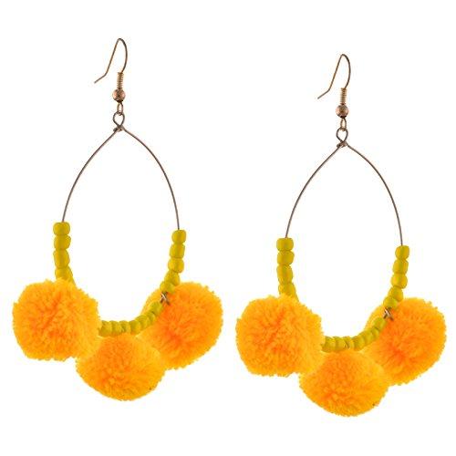 Oreleaa Fashion Gold Tone Lightweight Beaded Hook Earrings For Girls and Women