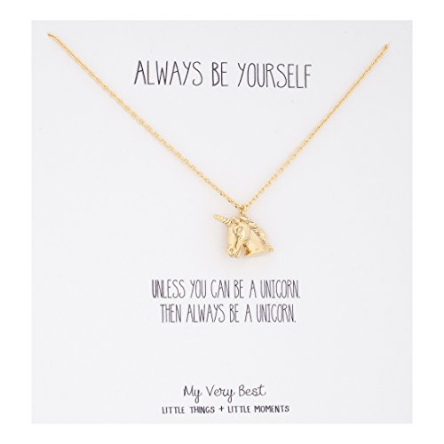 My Very Best Always Be Yourself Unicorn Necklace (gold plated brass) ()