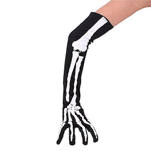 Arm Gloves Zombie & Hand (Heloween Punk Fancy Skeleton Gloves Arm Cuffs Warmer Costume by)