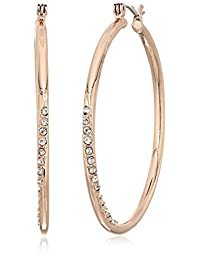 "GUESS ""Basic"" Rose Gold Stone Front Hoop Earrings"