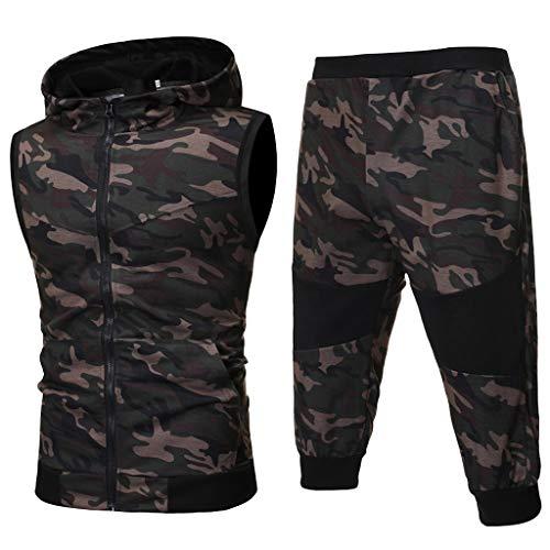 Men's Summer Camouflage Sweatshirt Zipper Top Pants Sets Sports Suit Tracksuit