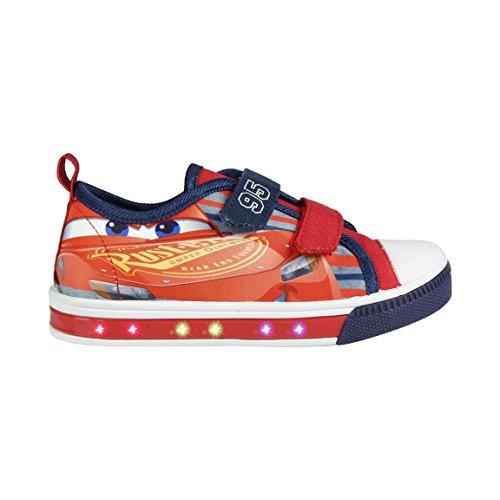 Cerdá Zapatillas con Luces Disney Cars - Bambas de Lona con Luz Cars Casual. Color Rojo + Regalo