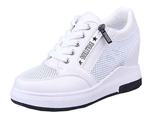 VECJUNIA Ladies Summer Air Permeable Mesh Sneakers Lace Up Zipper Outdoor Wedge Heel Sport Shoes White PiuC2UPbb3