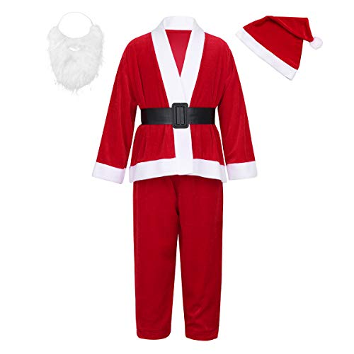 ACSUSS Kids Boys Girls Long Sleeves Christmas Xmas Santa Claus Costumes Outfits With Santa Hat Beard Set Red 9-11
