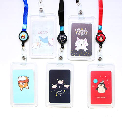 JETEHO 6 Pack Cute Cartoon Pattern Heavy Duty ID Badge Holder with Retractable Reel Key ()